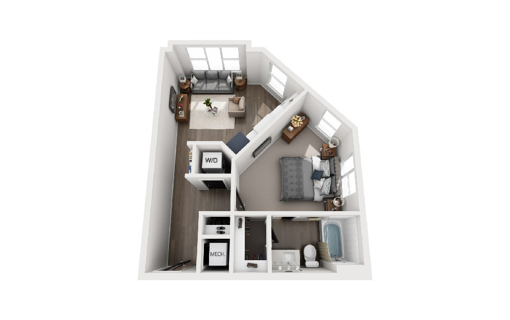 A1A - 1 bedroom floorplan layout with 1 bath and 554 square feet.