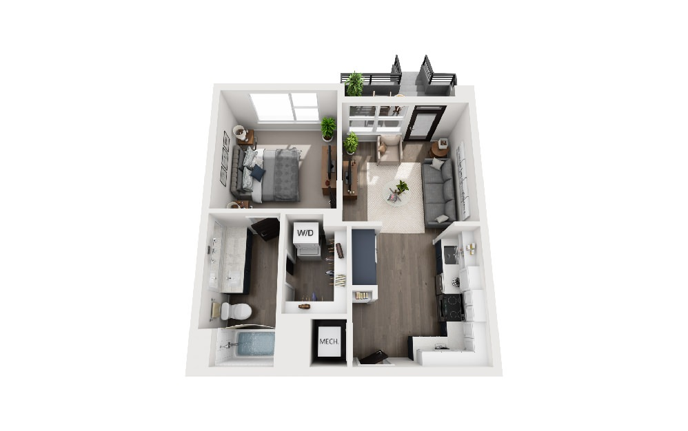 A1C - 1 bedroom floorplan layout with 1 bath and 575 square feet.