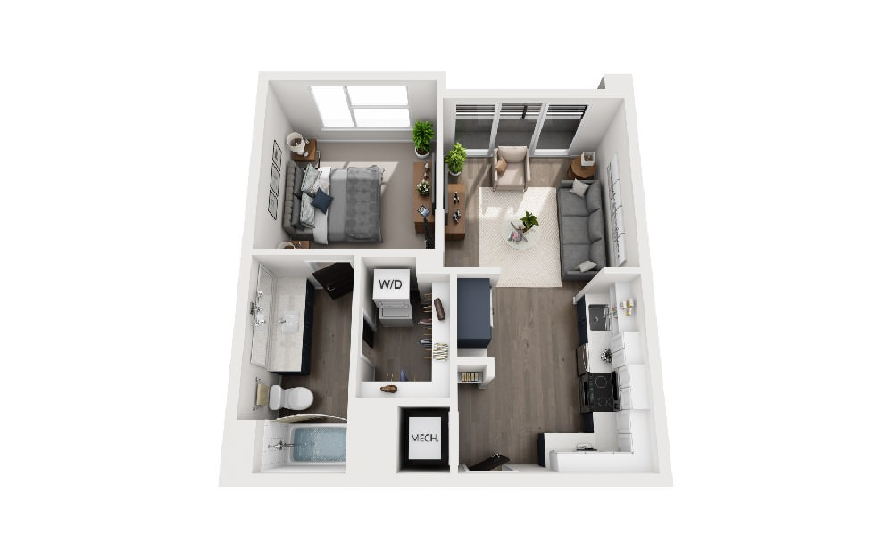 A1D - 1 bedroom floorplan layout with 1 bath and 575 square feet.