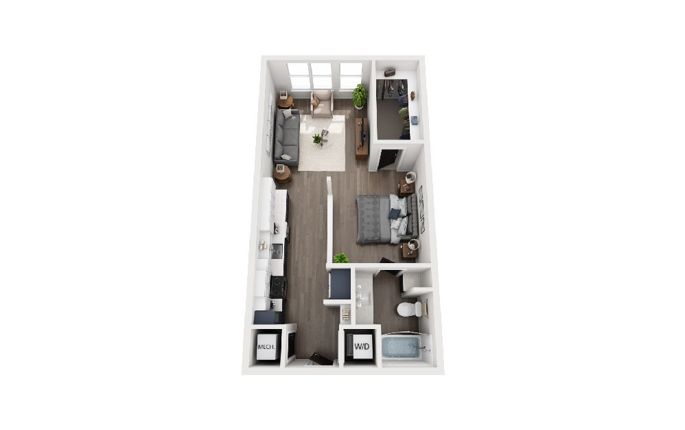 A1E - 1 bedroom floorplan layout with 1 bath and 599 square feet.