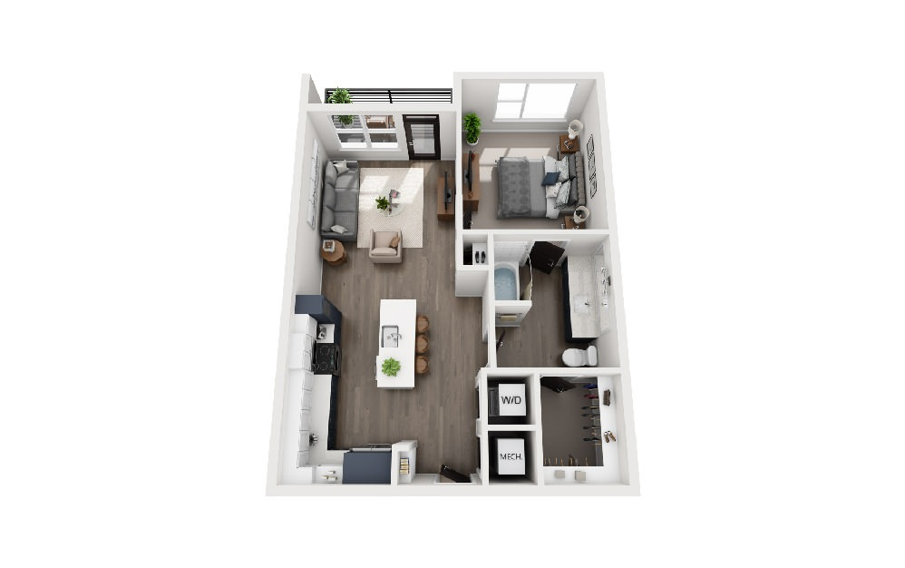 A1J - 1 bedroom floorplan layout with 1 bath and 731 square feet.
