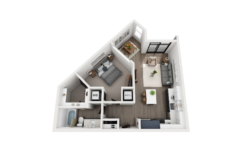 A1V - 1 bedroom floorplan layout with 1 bath and 764 square feet.