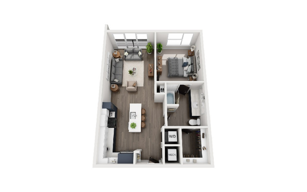 A1W - 1 bedroom floorplan layout with 1 bath and 768 square feet.