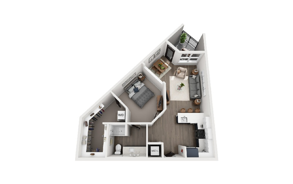 A1X - 1 bedroom floorplan layout with 1 bath and 769 square feet.