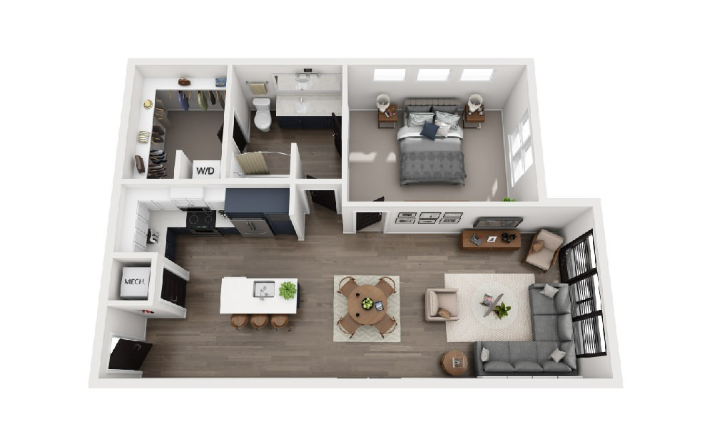A1Y - 1 bedroom floorplan layout with 1 bath and 901 square feet.