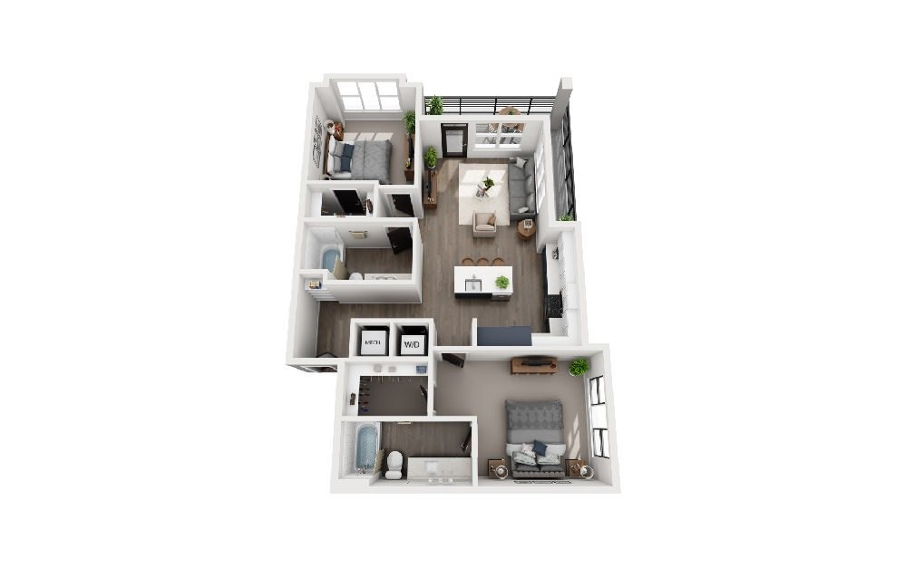 B2A - 2 bedroom floorplan layout with 2 baths and 1043 square feet.