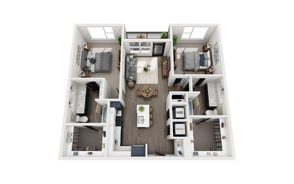B2B - 2 bedroom floorplan layout with 2 baths and 1100 square feet.
