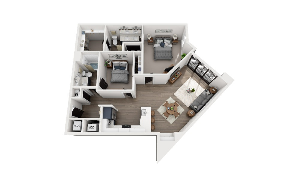 B2I - 2 bedroom floorplan layout with 2 baths and 1151 square feet.