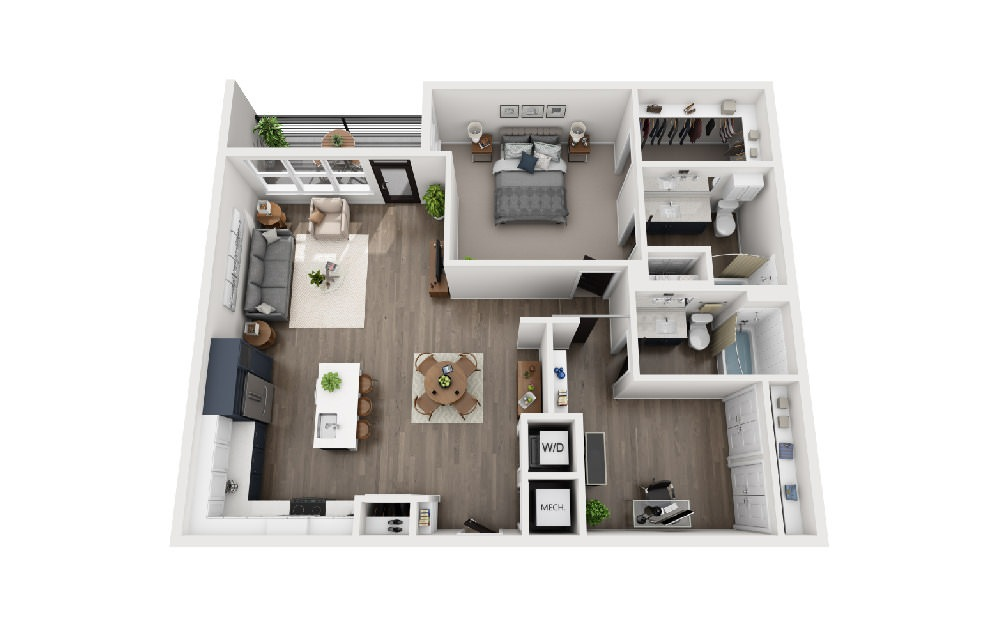 B2L - 2 bedroom floorplan layout with 2 baths and 1209 square feet.